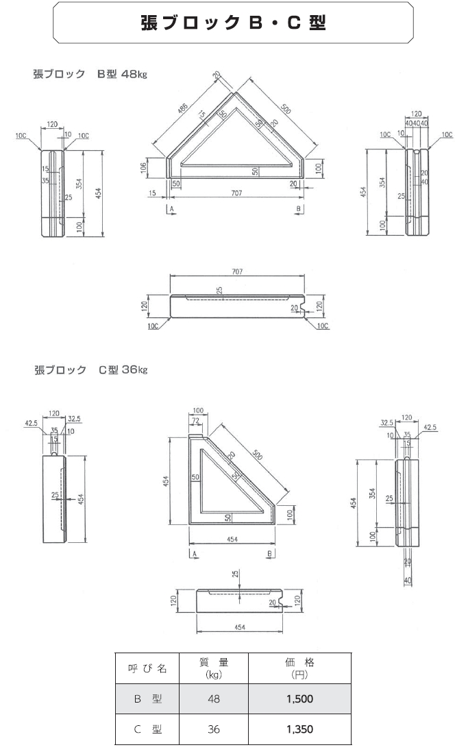 張ブロック|張ブロック 外形寸法 1