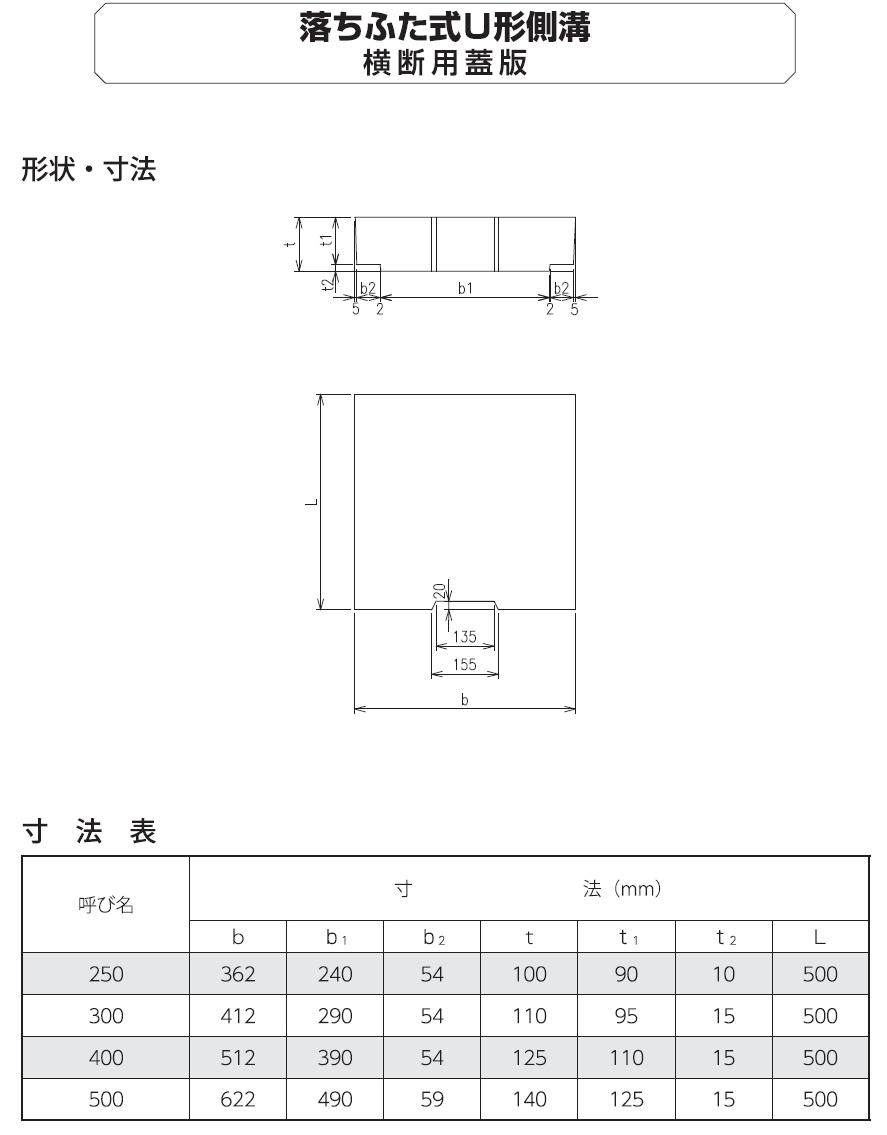 道路用一般製品|落ふた式U形側溝・蓋版 外形寸法 1