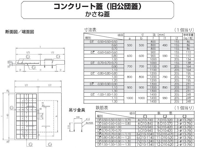 オリジナル製品|コンクリート蓋(旧公団型) 外形寸法 1