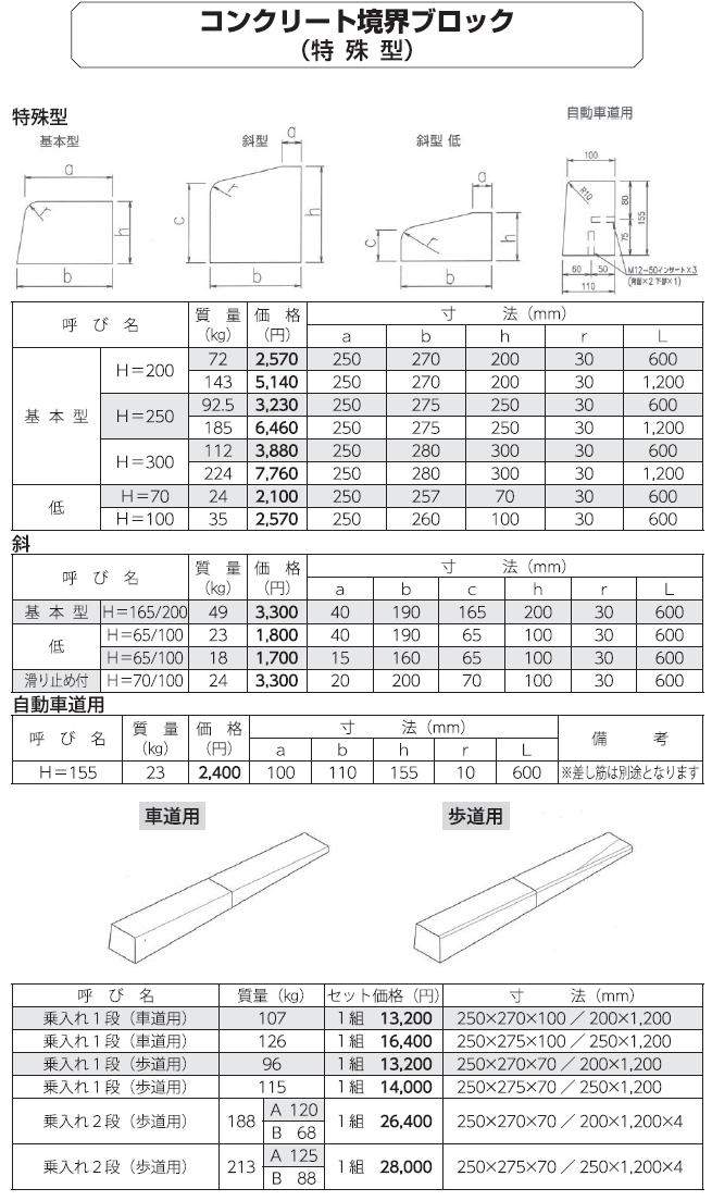 道路用一般製品|コンクリート境界ブロック 外形寸法 6