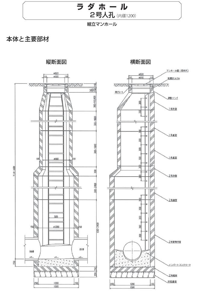 マンホール|ラダホール 外形寸法 6