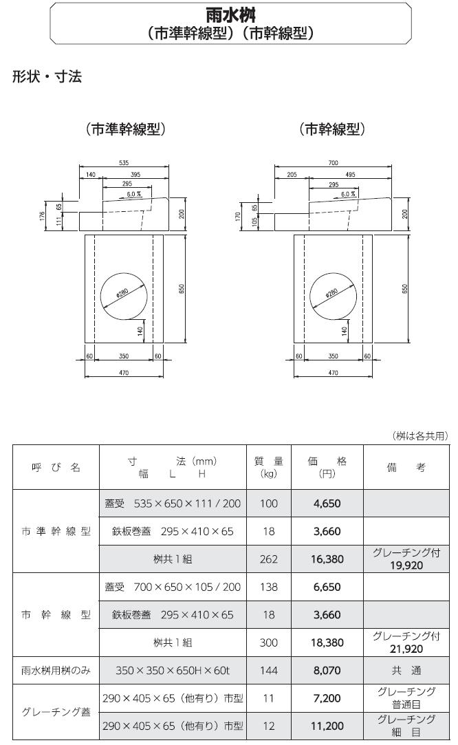 道路用一般製品 雨水桝(市準幹線型) 外形寸法 0