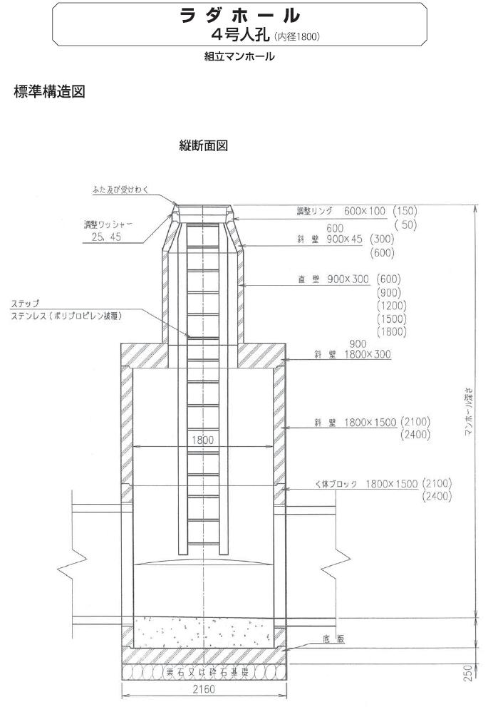 マンホール|ラダホール 外形寸法 10