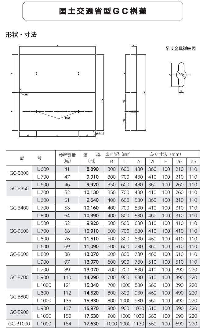 道路用一般製品 GC桝蓋 外形寸法 0