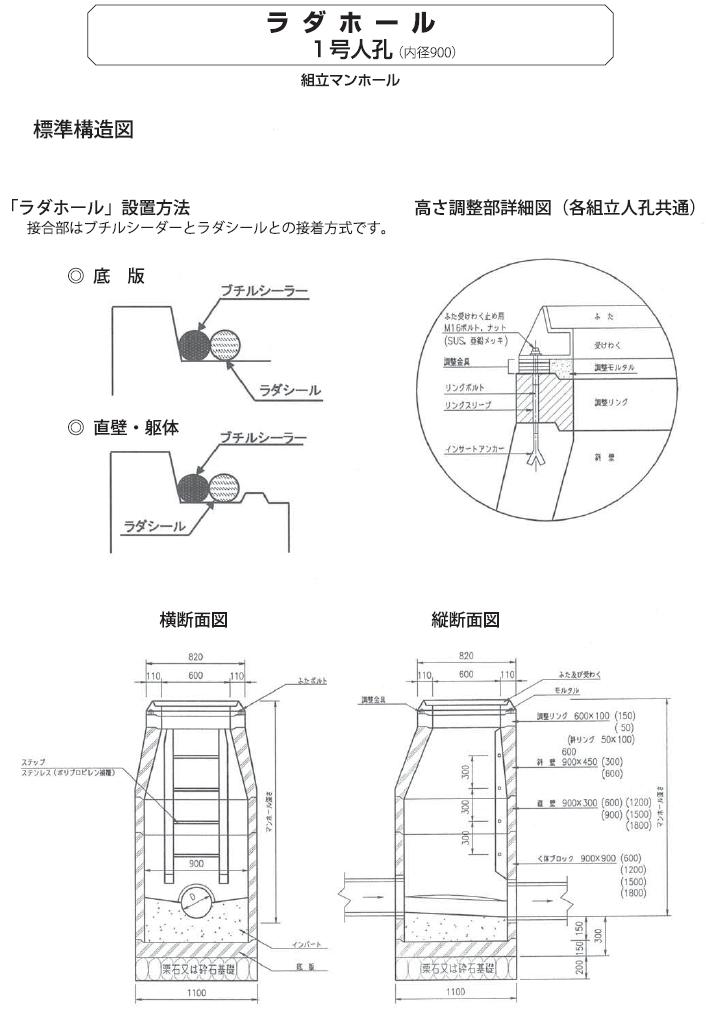 マンホール|ラダホール 外形寸法 4