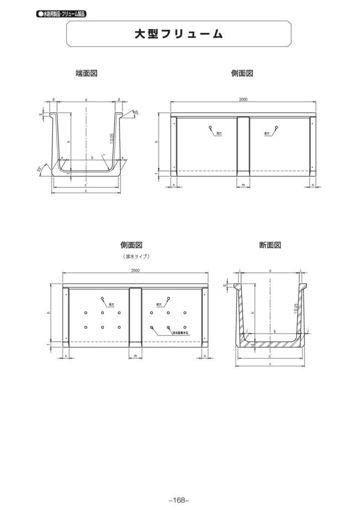 水路用製品・フリューム製品|大型フリューム 外形寸法 0