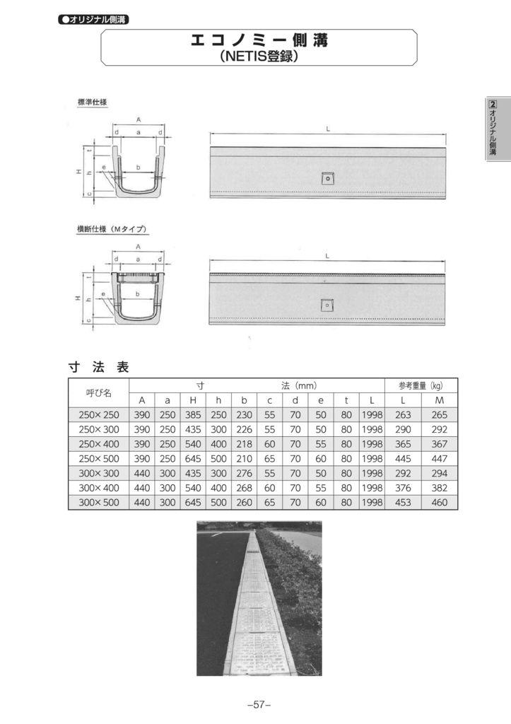 オリジナル側溝 エコノミー側溝(NETIS登録製品) 外形寸法 1