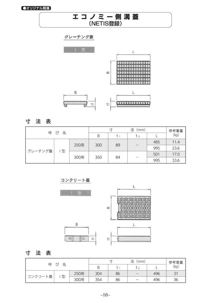 オリジナル側溝 エコノミー側溝(NETIS登録製品) 外形寸法 2