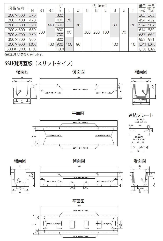 オリジナル側溝|SSU側溝 外形寸法 0