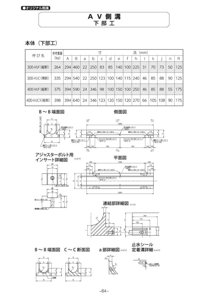 オリジナル側溝 AV側溝 外形寸法 1