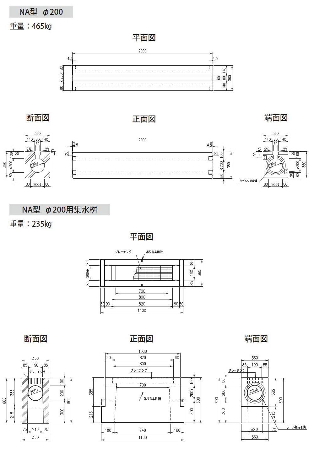 オリジナル側溝|円形水路 NA型 外形寸法 0