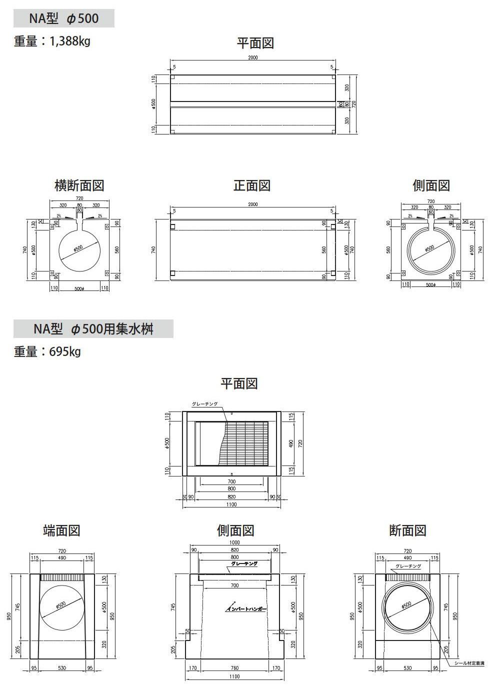 オリジナル側溝|円形水路 NA型 外形寸法 4