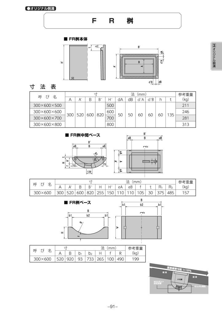 オリジナル側溝 BC側溝FR横断側溝 外形寸法 1