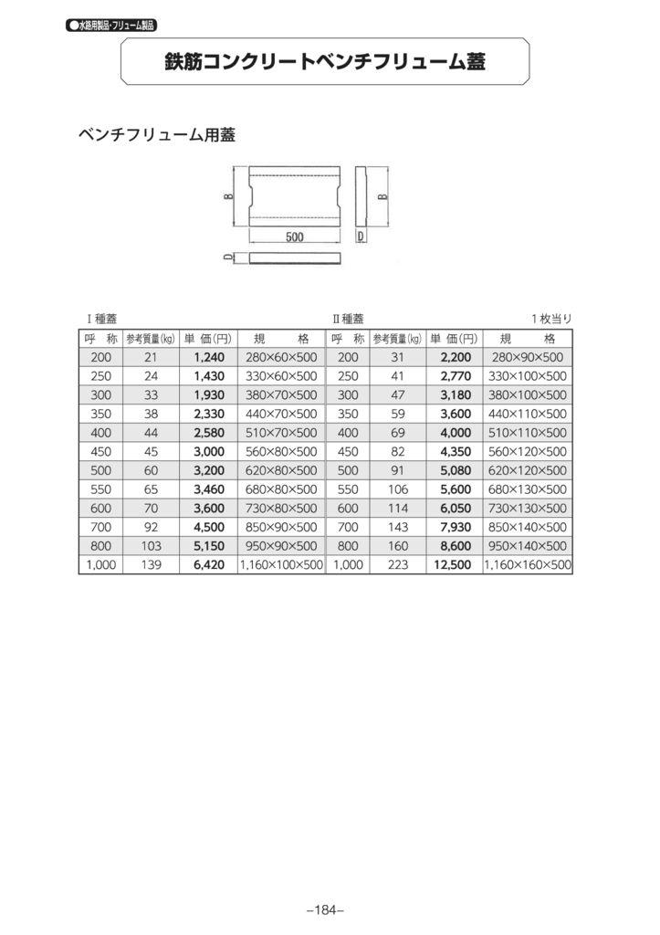 水路用製品・フリューム製品|ベンチフリューム 外形寸法 1