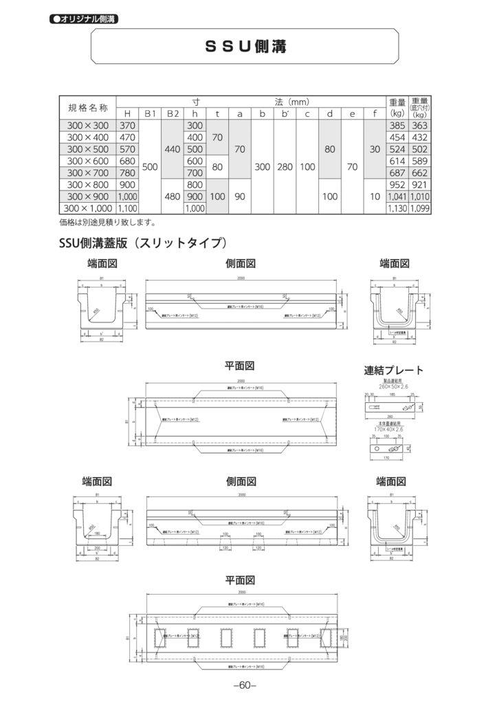 オリジナル側溝 SSU側溝 外形寸法 0