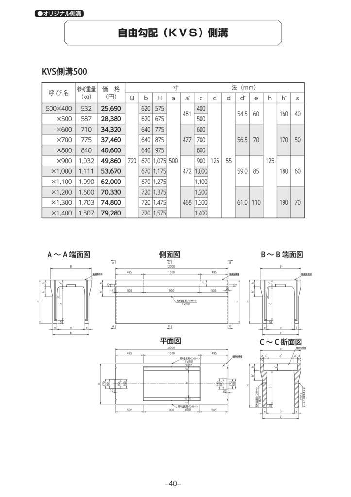 オリジナル側溝 自由勾配側溝(KVS側溝)縦断 外形寸法 2