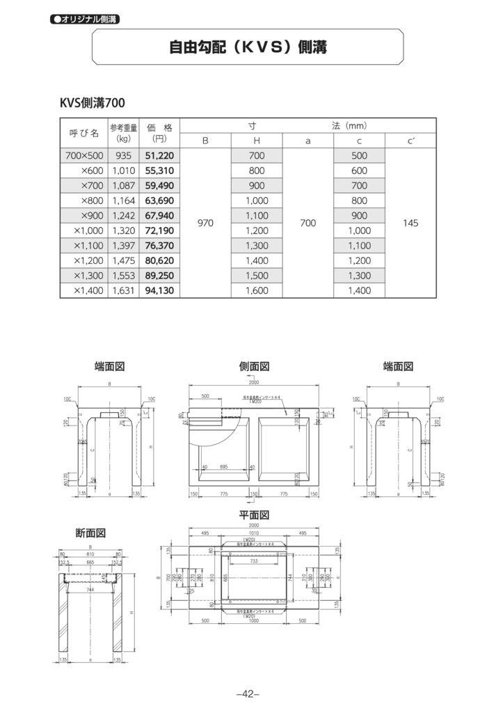 オリジナル側溝 自由勾配側溝(KVS側溝)縦断 外形寸法 4