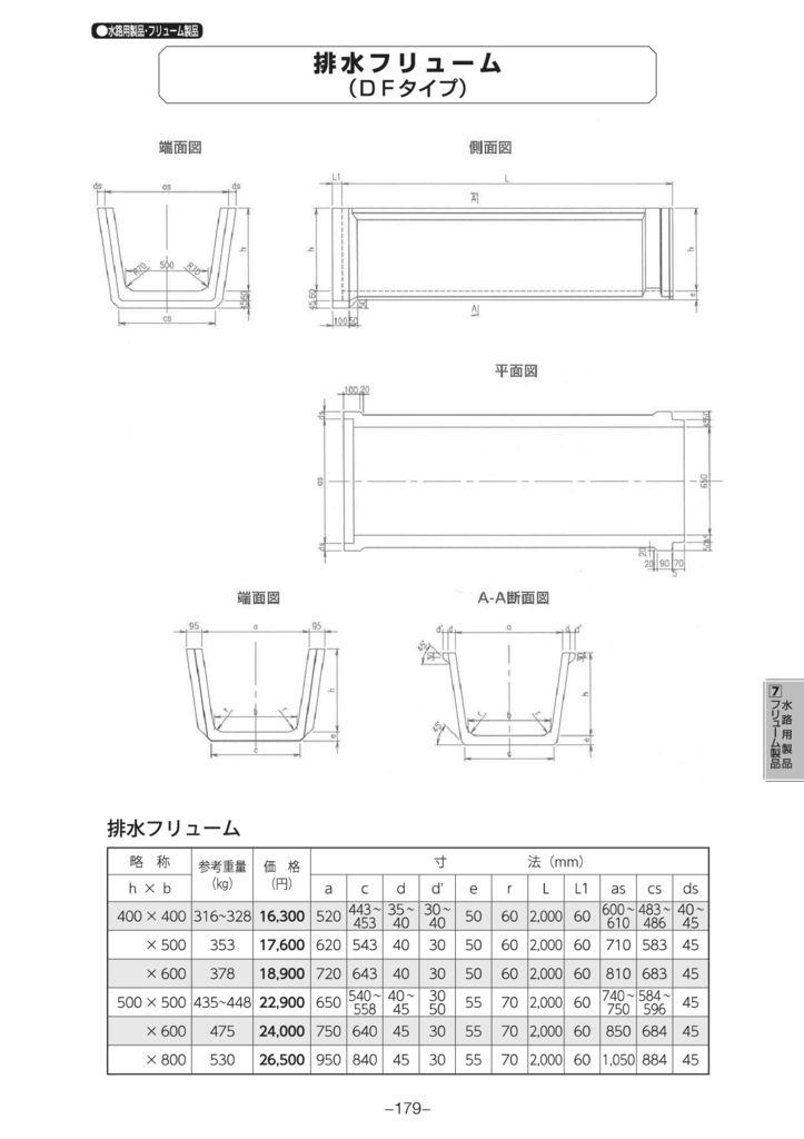 水路用製品・フリューム製品|排水フリューム(DFタイプ) 外形寸法 0