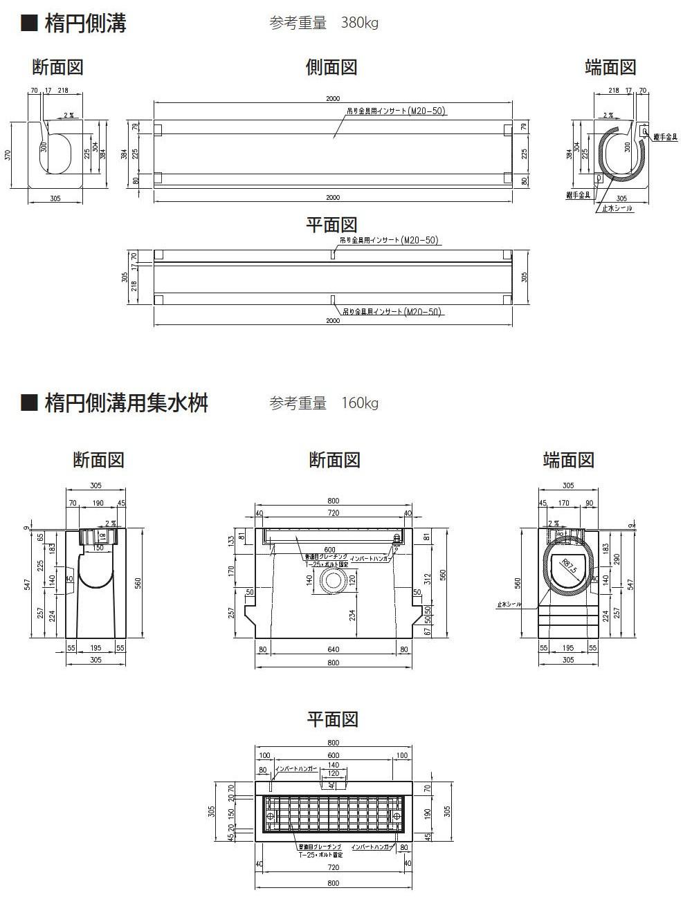オリジナル側溝|楕円側溝 外形寸法 0