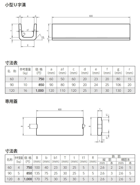 オリジナル側溝|ミニU字溝 外形寸法 0