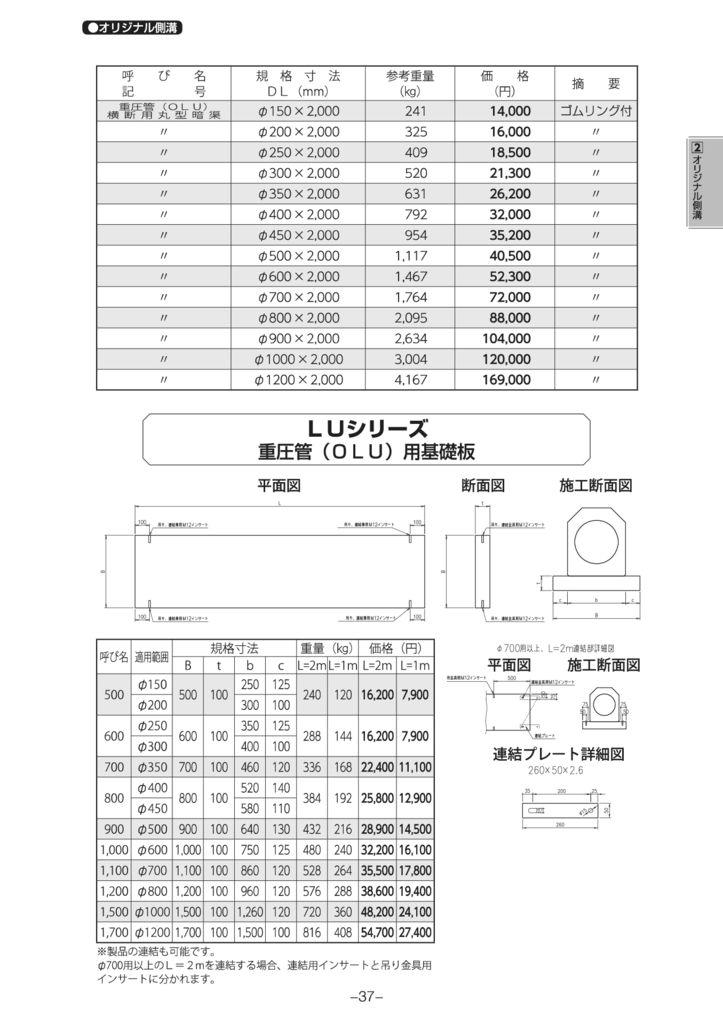 オリジナル側溝|重圧管(OLU)・蓋 外形寸法 1