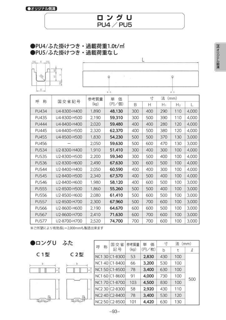 オリジナル側溝 ロングU 外形寸法 1
