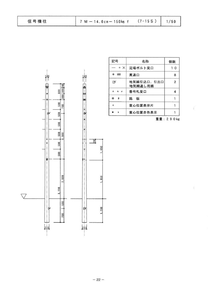 関西コンクリート|信号機柱 外形寸法 0