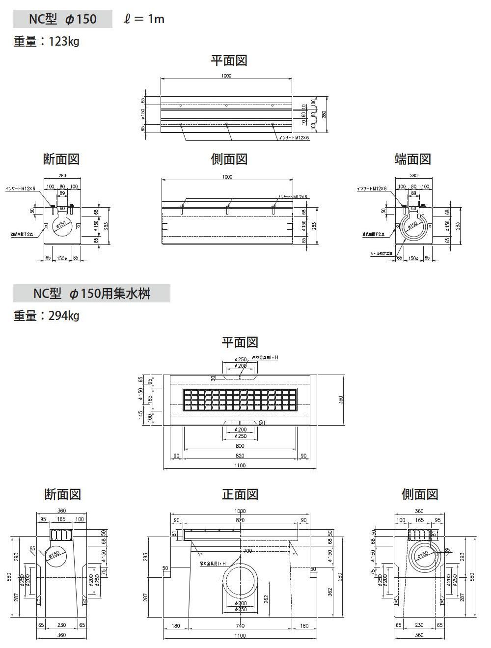 オリジナル側溝|円形水路 NC型 外形寸法 0