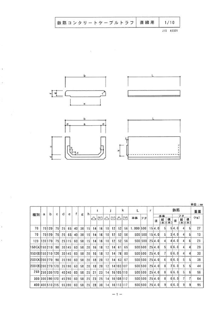 関西コンクリート|ケーブルトラフ 外形寸法 0