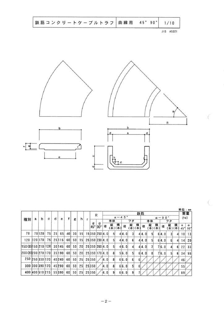 関西コンクリート|ケーブルトラフ 外形寸法 1