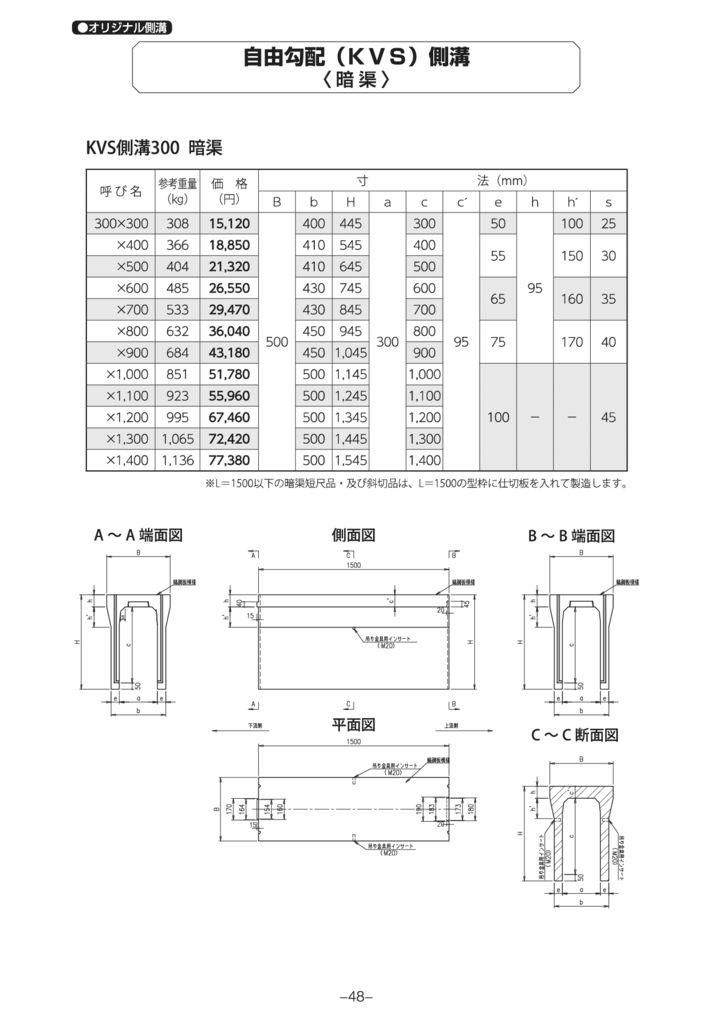 オリジナル側溝 自由勾配側溝(KVS側溝)暗渠 外形寸法 0