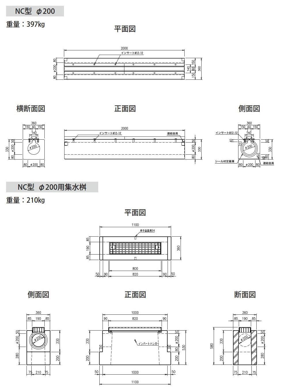 オリジナル側溝|円形水路 NC型 外形寸法 1
