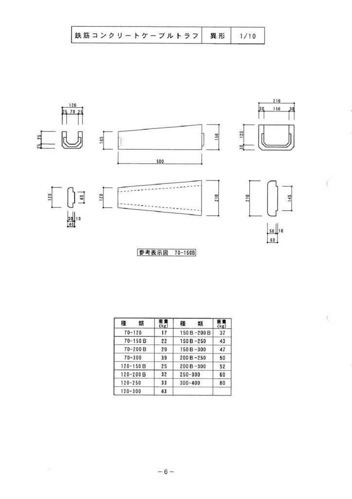 関西コンクリート|ケーブルトラフ  異形・異形分岐 外形寸法 0