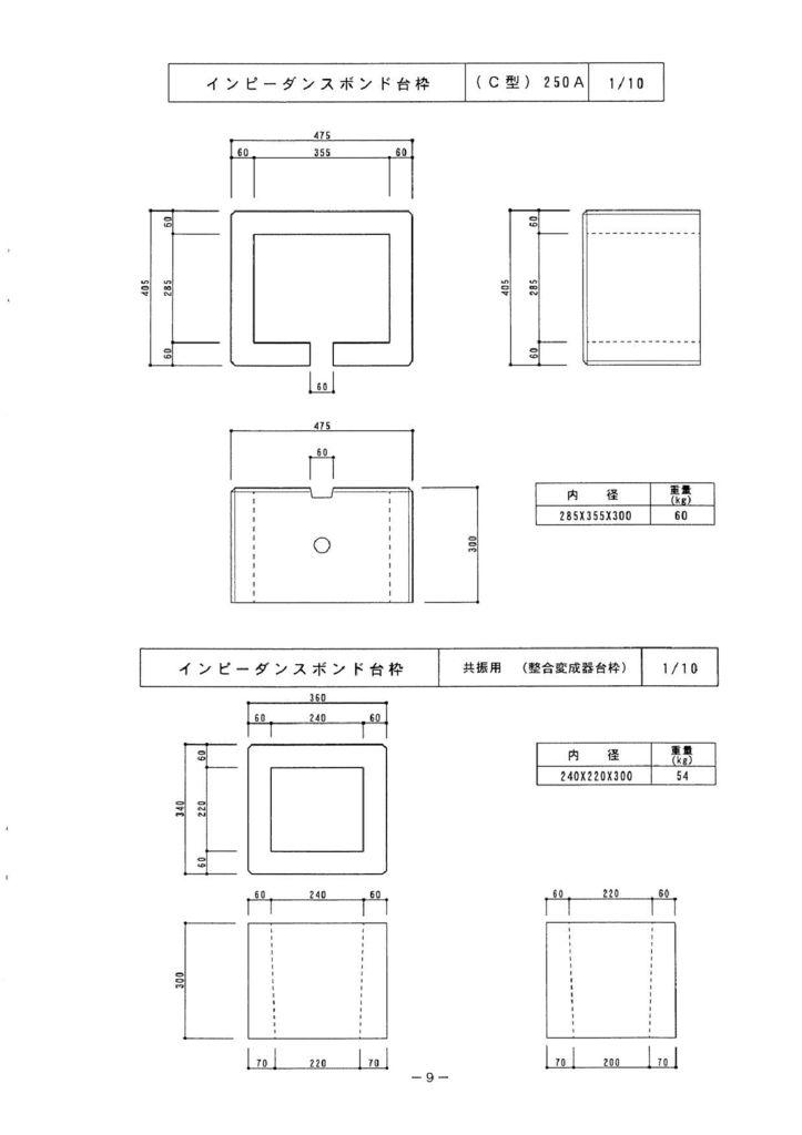 関西コンクリート|インピーダンスボンド台枠 外形寸法 1