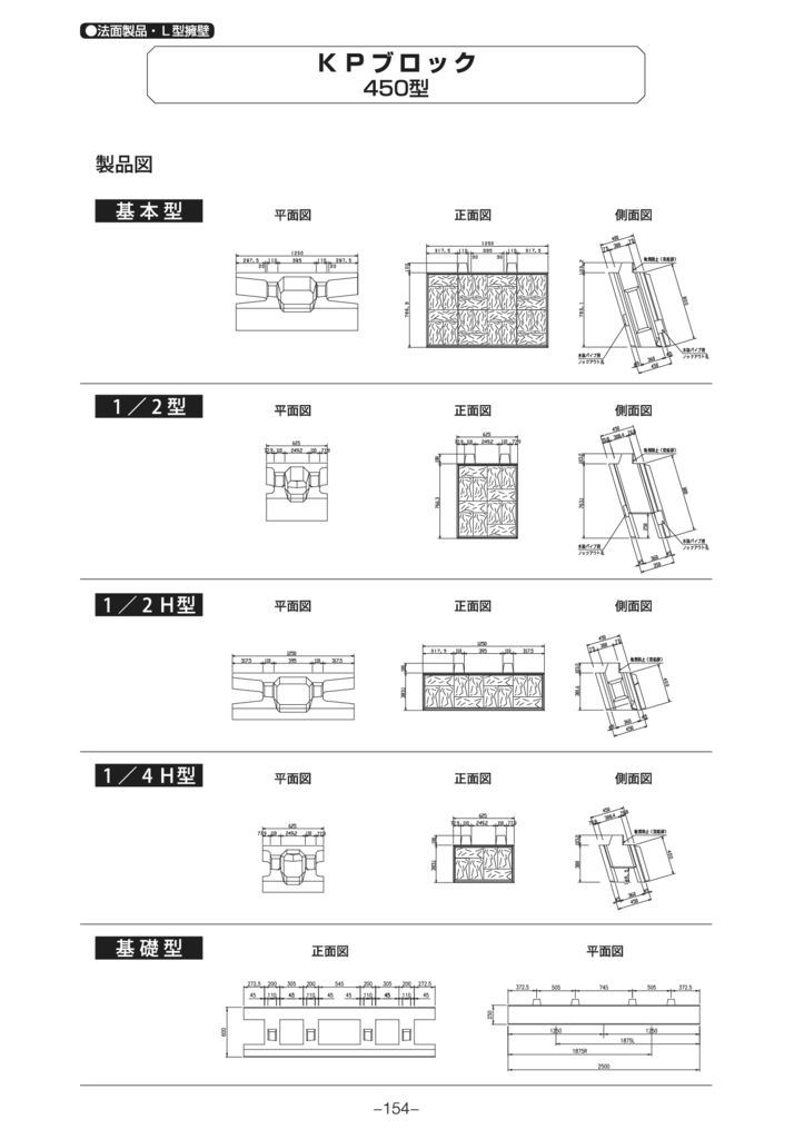 法面製品・L型擁壁|KPブロック450型 外形寸法 1