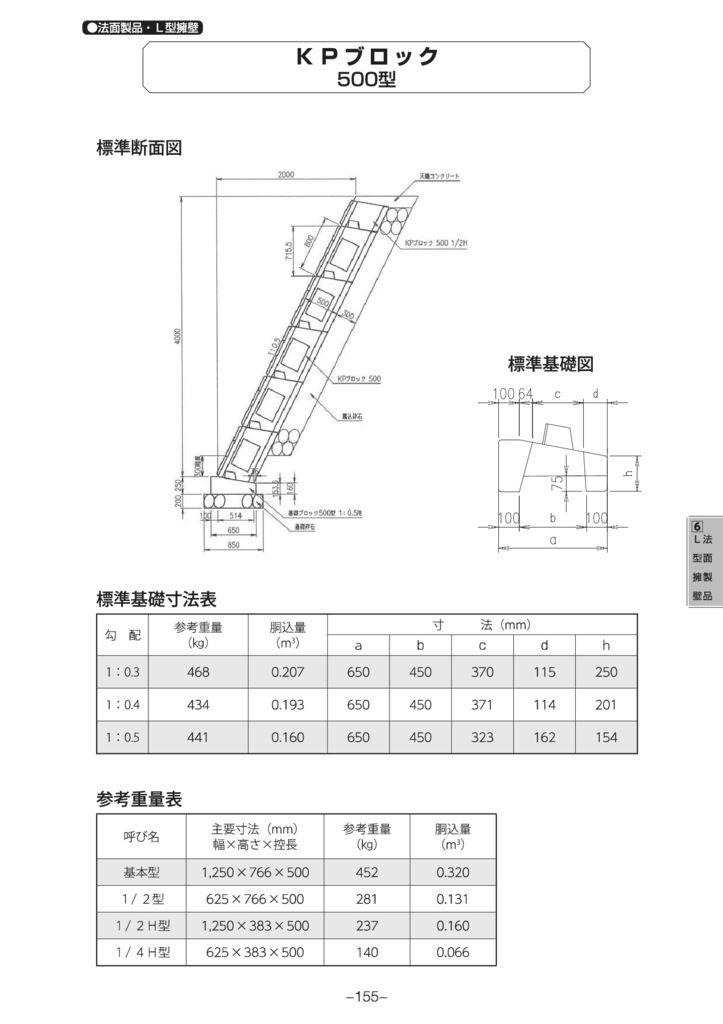 法面製品・L型擁壁|KPブロック500型 外形寸法 0