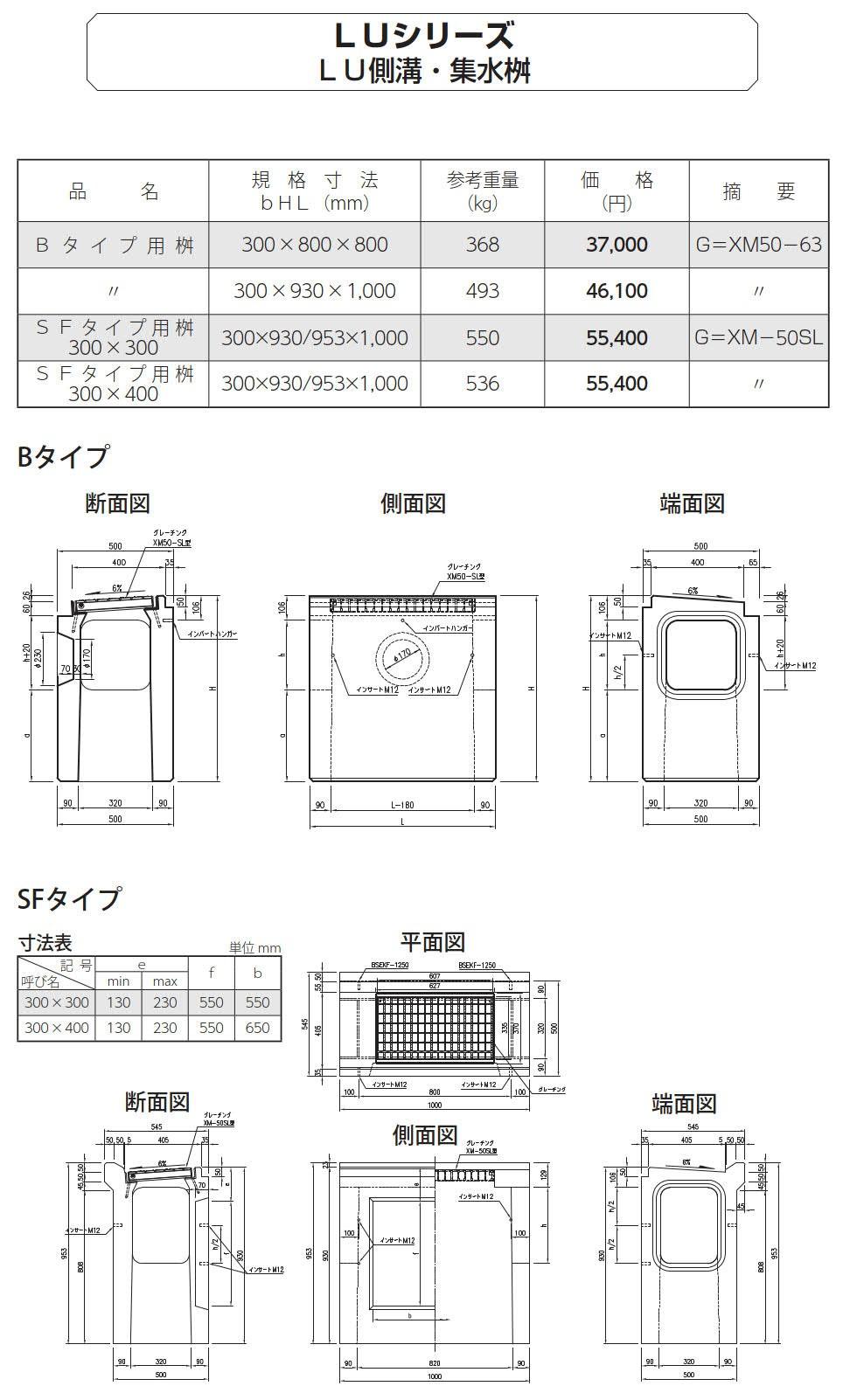 オリジナル側溝|LUシリーズ 集水桝、宅内雨水排水セット 外形寸法 0