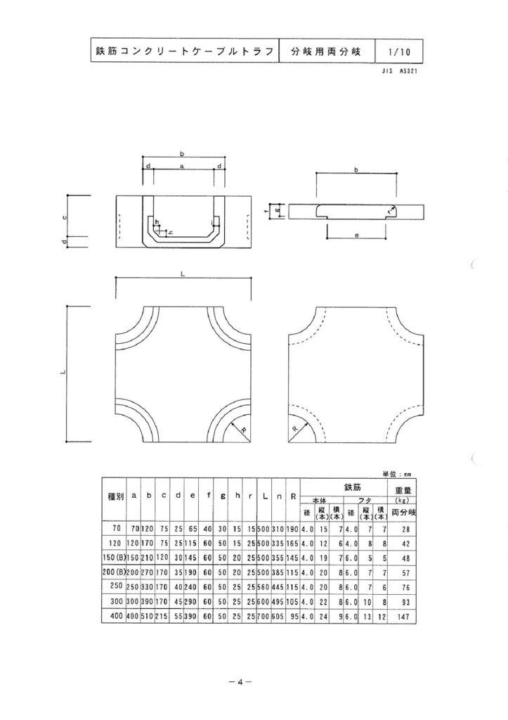 関西コンクリート|ケーブルトラフ 外形寸法 3