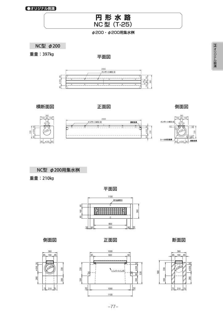 オリジナル側溝 円形水路 NC型 外形寸法 1