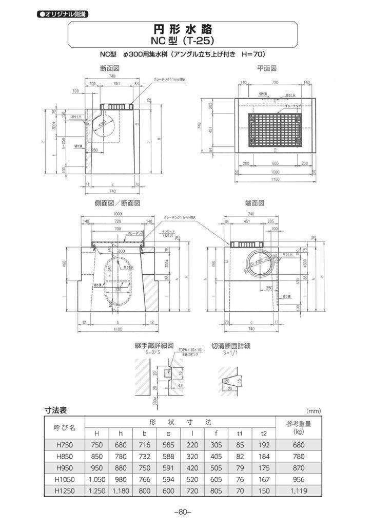 オリジナル側溝 円形水路 NB型・NC型 外形寸法 3