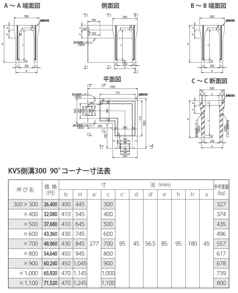 オリジナル側溝|自由勾配側溝(KVS側溝)土留、90°/135°コーナー、蓋 外形寸法 1
