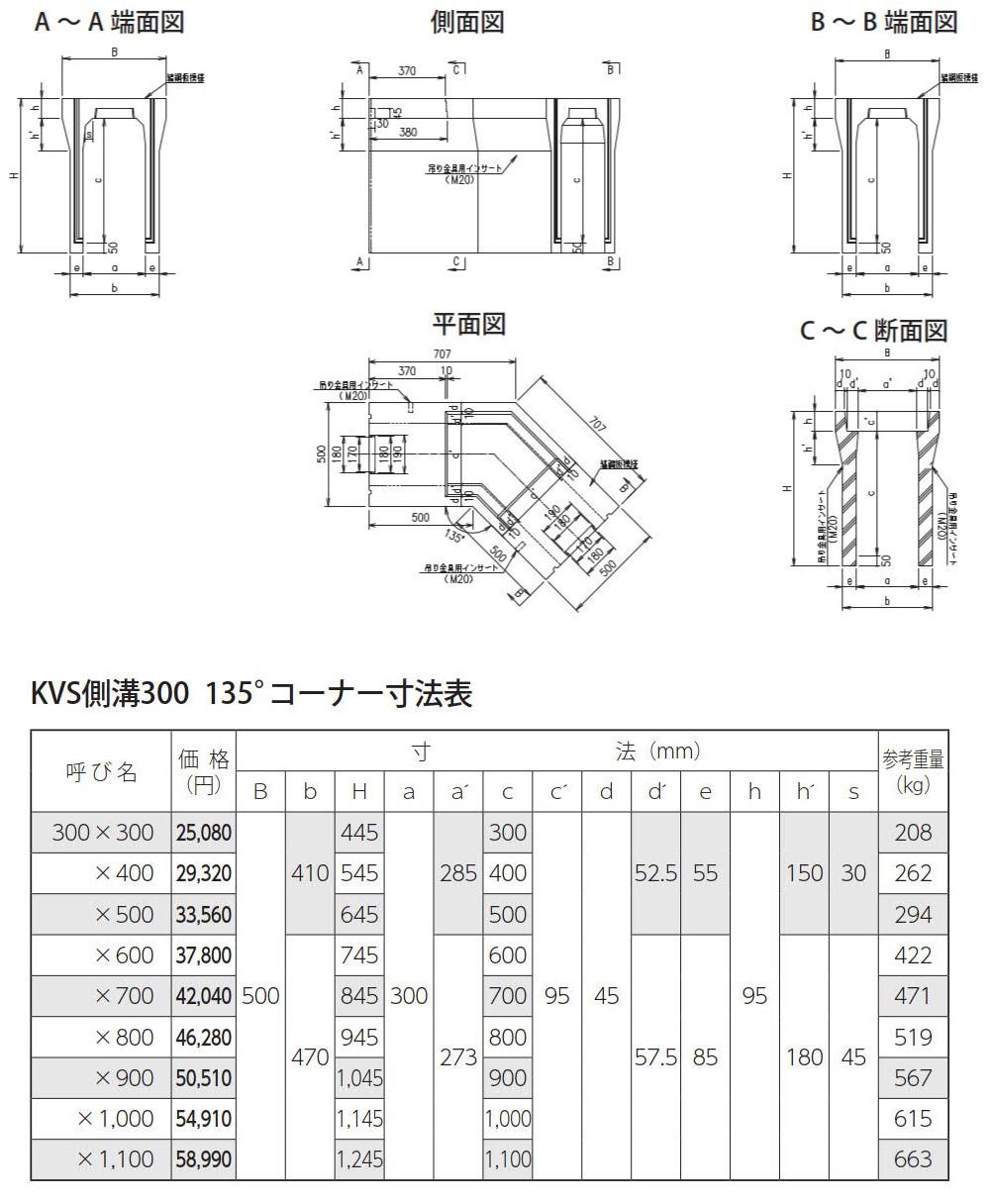 オリジナル側溝|自由勾配側溝(KVS側溝)土留、90°/135°コーナー、蓋 外形寸法 2