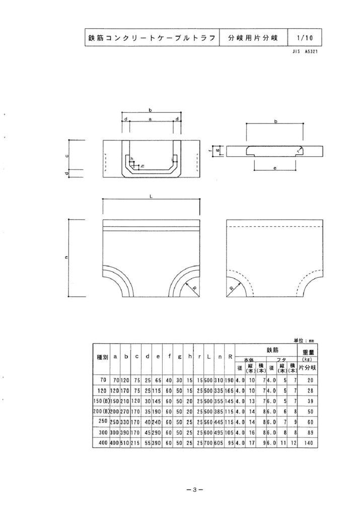 関西コンクリート|ケーブルトラフ 外形寸法 2