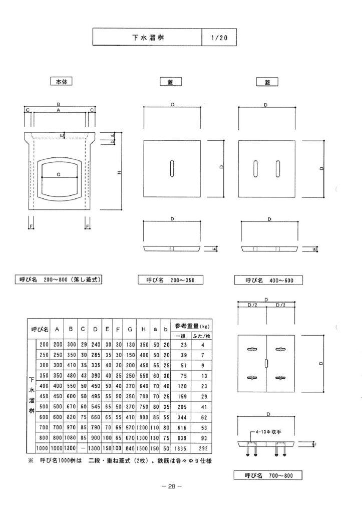関西コンクリート|下水溜桝 外形寸法 0