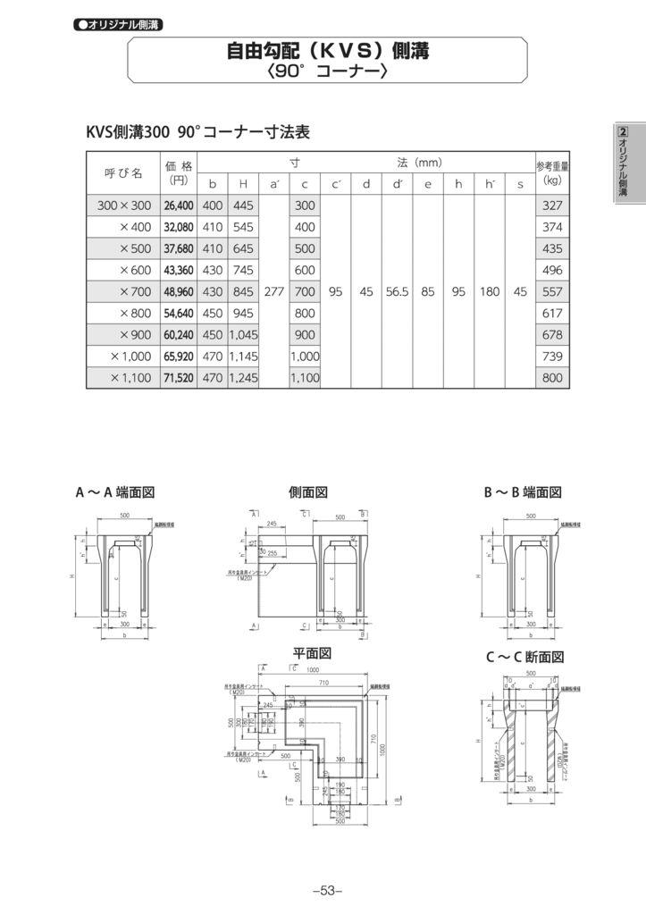 オリジナル側溝 自由勾配側溝(KVS側溝)土留、90°・135°コーナー、蓋 外形寸法 1