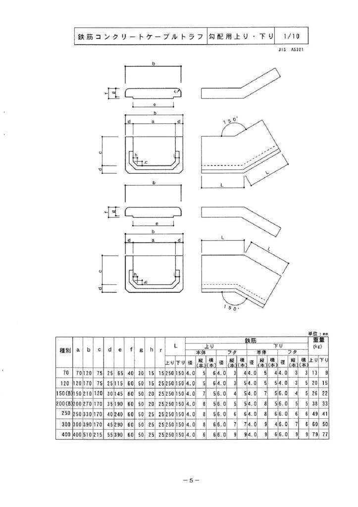 関西コンクリート|ケーブルトラフ 外形寸法 4