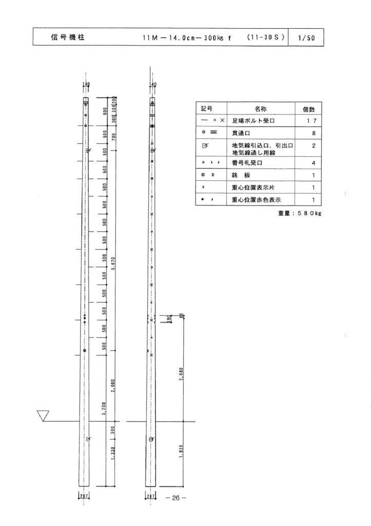 関西コンクリート|信号機柱 外形寸法 4