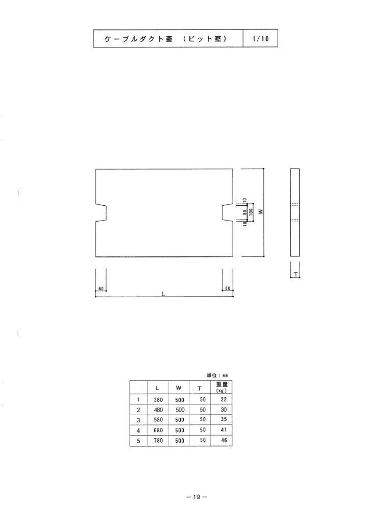 関西コンクリート|ケーブルダクト蓋(ピット蓋) 外形寸法 0