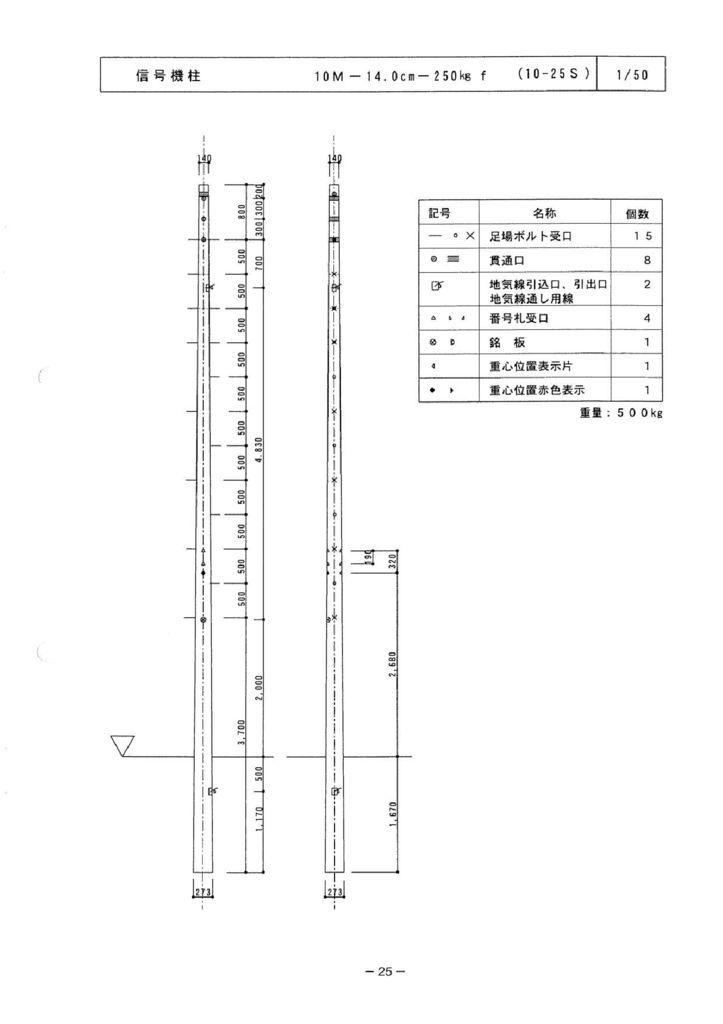 関西コンクリート|信号機柱 外形寸法 3
