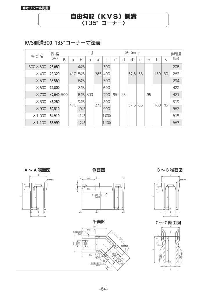 オリジナル側溝 自由勾配側溝(KVS側溝)土留、90°・135°コーナー、蓋 外形寸法 2